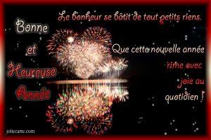 l'image représente une carte de voeux pour la nouvelle année 2019 sur fond noir avec un feu d'artifice en forme de coeur, qui nous souhaite que cette année rime avec joie au quotidien.